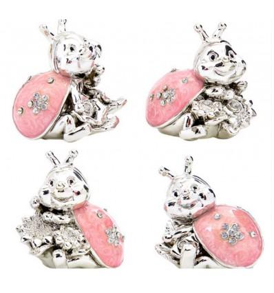 Coccinella Portafortuna argento e rosa