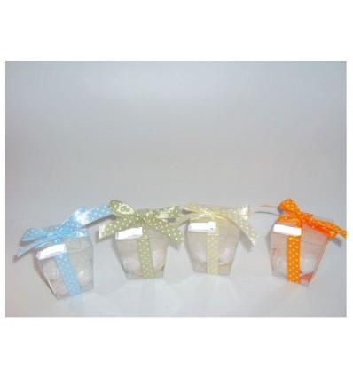 Bicchierino trasparente con nastri e confetti