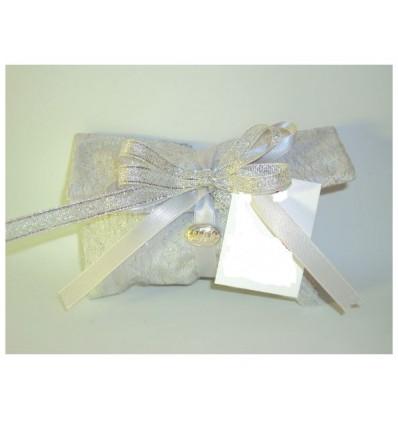 Busta lettere taffeta argento con rete argento placca 25 nastri e confetti