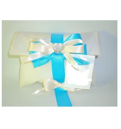 Busta lettere taffeta panna con cuore nastri e confetti