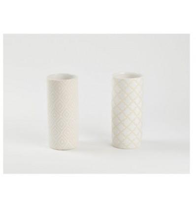Vasetto in ceramica bianco 8 x 18,5