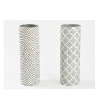 Vasetto in ceramica grigio 11,5 x 33,5