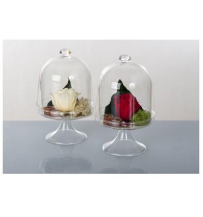 Alzata vetro h 16 fiori stabilizzati